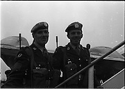 17/04/1966<br /> 04/17/1966<br /> 17 April 1966<br /> Irish troops leave for United Nations duty in Cyprus from Dublin Airport. The remainder of the 6th Infantry Group, replacing the 5th Infantry Group left Dublin by special aircraft to fly direct to Cyprus. Picture shows Sgt. Cantwell and Cpl. Brerton, both from Cork boarding the plane.