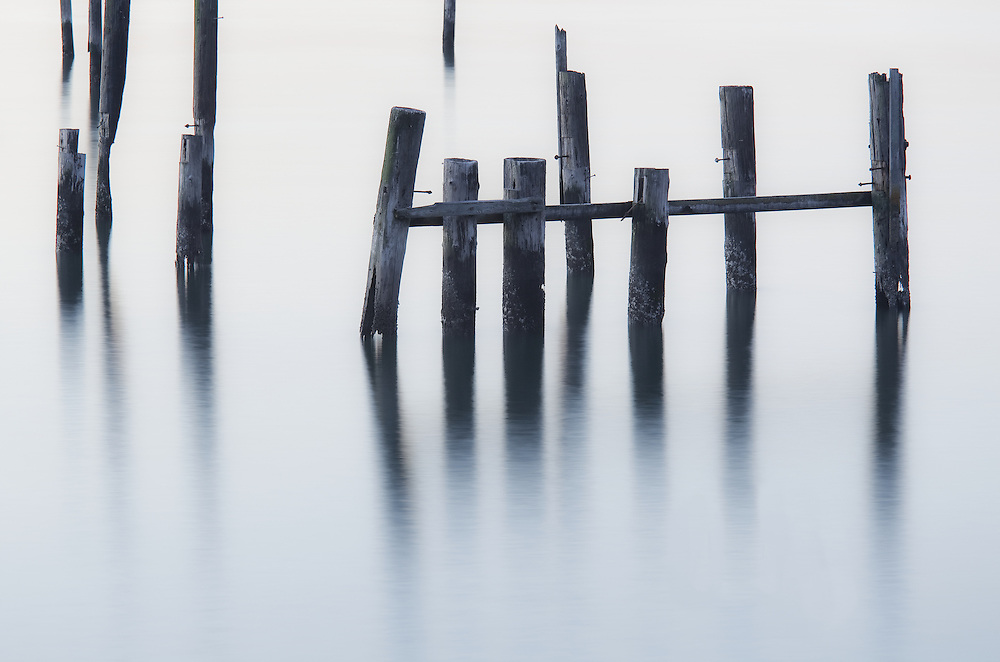 remnants of an old pier in sausalito taken using a super long exposure and high tone developing