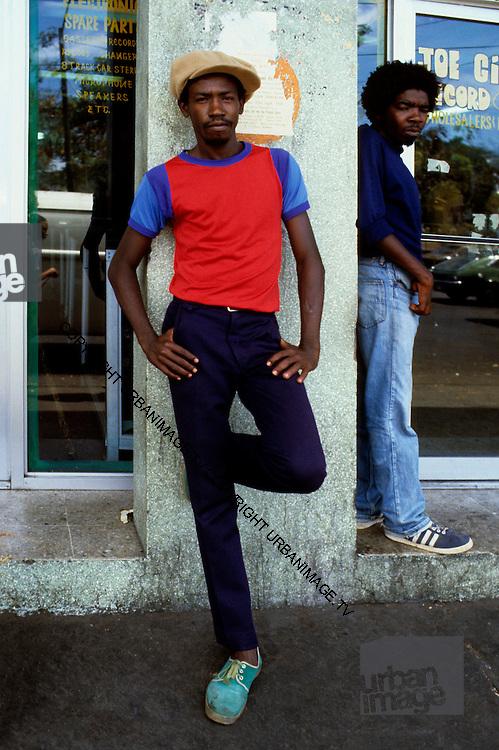 Rude Boys hang out at Joe Gibbs Record Store Kingston Jamaica