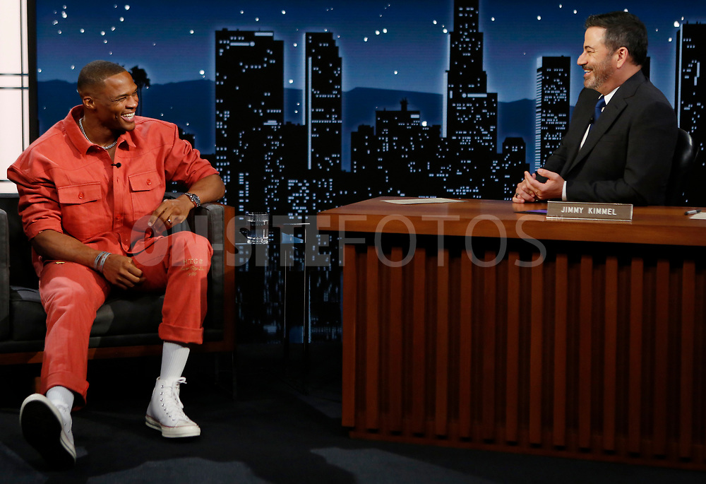 """JIMMY KIMMEL LIVE! - """"Jimmy Kimmel Live!"""" airs every weeknight at 11:35 p.m. EST and features a diverse lineup of guests that include celebrities, athletes, musical acts, comedians and human interest subjects, along with comedy bits and a house band. The guests for Monday, October 4 included John Stamos, Russell Westbrook (""""Passion Play""""), and musical guest Alice Merton. (ABC/Randy Holmes)<br /> RUSSELL WESTBROOK, JIMMY KIMMEL"""