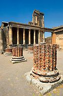 The columns of the 2nd cent. B.C Roman Basilica of Pompeii which was the Roman courts of justice and the core of economic life in Pompeii. .<br /> <br /> If you prefer to buy from our ALAMY PHOTO LIBRARY  Collection visit : https://www.alamy.com/portfolio/paul-williams-funkystock/pompeii.html<br /> Visit our CLASSICAL WORLD HISTORIC SITES PHOTO COLLECTIONS for more photos to buy as buy as wall art prints https://funkystock.photoshelter.com/gallery-collection/Classical-Era-Historic-Sites-Archaeological-Sites-Pictures-Images/C0000g4bSGiDL9rw