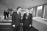 Mr. Charlie Haughey T.D., Minister for Agriculture, pictured with Mr. Maxie Cosgrove, President of the British Equine Veterinary Association at the 5th  Annual Congress of the Association, which the Minister opened at the Intercontintenal Hotel..25.10.1966