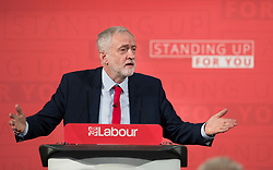 © Licensed to London News Pictures. 20/04/2017. London, UK. Labour Party leader JEREMY CORBYN delivers his first election campaign speech in Church House in Westminster, London.. Campaigning has begun for a snap election which was called by British Prime Minister Theresa May, earlier this week. Photo credit: Peter Macdiarmid/LNP