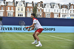 June 20, 2018 - London, United Kingdom - Novak Djokovic of Serbia and Stan Wawrinka of Switzerland play against Marcus Daniell of Australia and Wesley Koolhof of Netherland in their doubles match on day three of Fever Tree Championships at Queen's Club, London on June 20, 2018. (Credit Image: © Alberto Pezzali/NurPhoto via ZUMA Press)