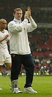 Photo: Aidan Ellis.<br /> Manchester United v Charlton Athletic. The Barclays Premiership. 07/05/2006.<br /> United's Wayne Rooney with his injured foot applauds the fans