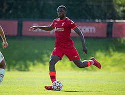 LIVERPOOL, ENGLAND - Wednesday, September 15, 2021: Liverpool's Billy Koumetio during the UEFA Youth League Group B Matchday 1 game between Liverpool FC Under19's and AC Milan Under 19's at the Liverpool Academy. Liverpool won 1-0. (Pic by David Rawcliffe/Propaganda)