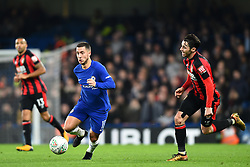 December 20, 2017 - London, England, United Kingdom - Chelsea Midfielder Eden Hazard is watched by Bournemouth's Adam Smith during the Carabao Cup Quarter - Final match between Chelsea and AFC Bournemouth at Stamford Bridge, London, England on 20 Dec 2017. (Credit Image: © Kieran Galvin/NurPhoto via ZUMA Press)