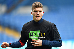 Birmingham City's Sam Gallagher warms up ahead of the match