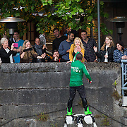 08.06.2016        <br /> Scenes along the Abbey River as Scotty Knemeyer put on a spectacular flyboard show in support of Limerick 2020. Scotty Knemeyer greeted spectators at the Locke Bar. Picture: Alan Place
