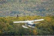 A Katmai Air De Havilland Canada DHC-2 Beaver takes off from Brooks Camp at Katmai National Park and Preserve September 16, 2019 from King Salmon, Alaska. The remote national park, known for the largest concentration of brown bears in the world is only accessible by float plane or water taxi.