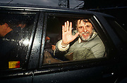 The former Beirut hostage, Terry Waite waves from a car, driven away after landing back at RAF Lyneham, UK. Looking exhausted, with red eyes, a drawn complexion and a grey/white beard, Waite is otherwise delighted to be back on home soil after years of captivity. As an envoy for the Church of England, he travelled to Lebanon to try to secure the release of four hostages including journalist John McCarthy and was himself held captive by Islamic factions for 1,763 days, the first four years of which were spent in total solitary confinement, between 1987 and 1991.