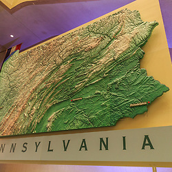 The large Pennsylvania map in the State Museim in Harrisburg, PA.