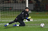Dimitrios Konstantopoulos (1) of Middlesbrough warming up before the The FA Cup match between Newport County and Middlesbrough at Rodney Parade, Newport, Wales on 5 February 2019.