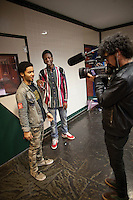 March 8, 2011 NEW YORK - Vice's production team filming a music video with the breaking new Brooklyn rapper, Joey BadA$$, for Noisey, Vice's new YouTube music channel. Cameraman Lautaro D'Amato, right....Photo by Robert Caplin.