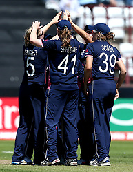 Heather Knight of England Women celebrates with teammates after taking the wicket of Dilani Manodara of Sri Lanka Women - Mandatory by-line: Robbie Stephenson/JMP - 02/07/2017 - CRICKET - County Ground - Taunton, United Kingdom - England Women v Sri Lanka Women - ICC Women's World Cup Group Stage