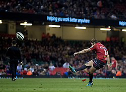Scarlets' Leigh Halfpenny converts (fourth try)<br /> <br /> Photographer Simon King/Replay Images<br /> <br /> Guinness PRO14 Round 21 - Dragons v Scarlets - Saturday 28th April 2018 - Principality Stadium - Cardiff<br /> <br /> World Copyright © Replay Images . All rights reserved. info@replayimages.co.uk - http://replayimages.co.uk