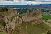 It was a cloudy morning at Scottsbluff National Monument. Towering 800 feet above the river valley, Scottsbluff is one of the most well known landmarks on the Oregon Trail.