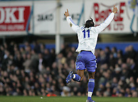 Photo: Lee Earle.<br /> Portsmouth v Chelsea. The Barclays Premiership. 03/03/2007.Chelsea's Didier Drogba celebrates after scoring their opening goal.