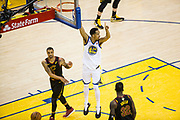 Golden State Warriors guard Shaun Livingston (34) celebrates a dunk against the Cleveland Cavaliers during Game 1 of the NBA Finals at Oracle Arena in Oakland, Calif., on May 31, 2018. (Stan Olszewski/Special to S.F. Examiner)