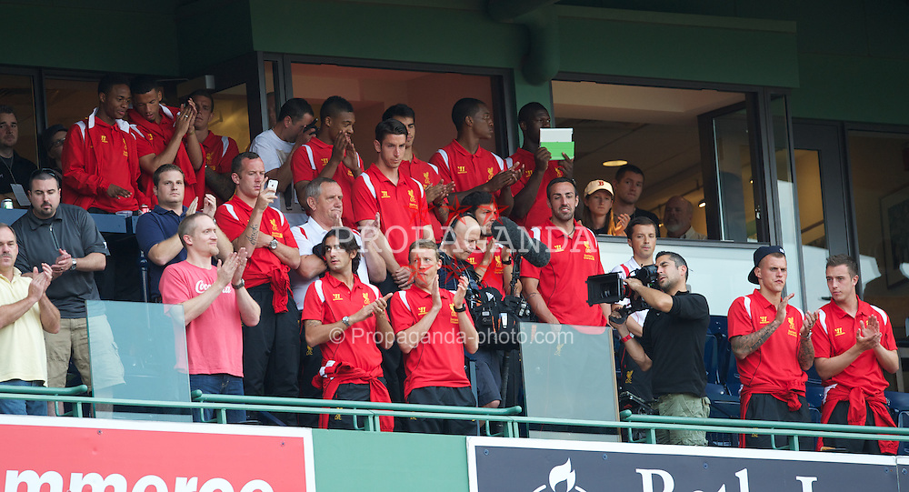 BOSTON, MA - Thursday, July 19, 2012: Liverpool players stand for the national anthem as they visit Fenway Park to see the Boston Red Sox take on the Chicago White Sox during the side's North American pre-season tour. Raheem Sterling, Charlie Adam, Alberto Aquilani, Lucas Leiva, goalkeeper Brad Jones, Martin Skrtel. (Pic by David Rawcliffe/Propaganda)