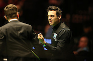 Ronnie O'Sullivan complain's about the balls during his match against Yu De Lu . Betvictor Welsh Open snooker 2016, day 4 at the Motorpoint Arena in Cardiff, South Wales on Thursday 18th Feb 2016.  <br /> pic by Andrew Orchard, Andrew Orchard sports photography.