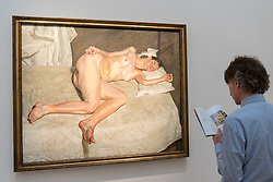 © Licensed to London News Pictures. 14/06/2018. LONDON, UK. ''Portrait On A White Cover'' by Lucian Freud, (Est. £17,000,000 - 20,000,000). Preview of Impressionist & Modern and Contemporary art sales, which will take place at Sotheby's New Bond Street on 19 and 26 June 2018 respectively.  Photo credit: Stephen Chung/LNP