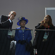 Her Royal Highness Queens Elizebeth II  visiting the Aquatic Centre with Seb Coe (left) and John Armitt  during the swimming heats at the Aquatic Centre at Olympic Park, Stratford during the London 2012 Olympic games. London, UK. 28th July 2012. Photo Tim Clayton
