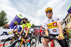 Jonas Iversby HVIDEBERG of UNO - X PRO CYCLING TEAM4 and Phil BAUHAUS of BAHRAIN VICTORIOUS during 2nd Stage of 27th Tour of Slovenia 2021 cycling race between Zalec and Celje (147 km), on June 10, 2021 in Zalec - Celje, Zalec - Celje, Slovenia. Photo by Vid Ponikvar / Sportida