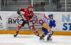 46#Nejc Stojan of Jesenice during ice hockey match between HK SIJ Acroni Jesenice and Asiago Hockey in Round #3 of Alps Hockey League 2018/19 , on September 22, 2018 in Podmezakla hall , Jesenice, Slovenia. Photo by Urban Meglic / Sportida