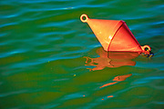 A red mooring buoy floats in the green, murky water of a harbour