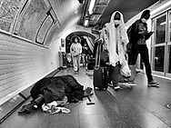 Paris during Covid 19 pandemic. pedestrians with covid mask in  the subway in Barbes area. chateau rouge