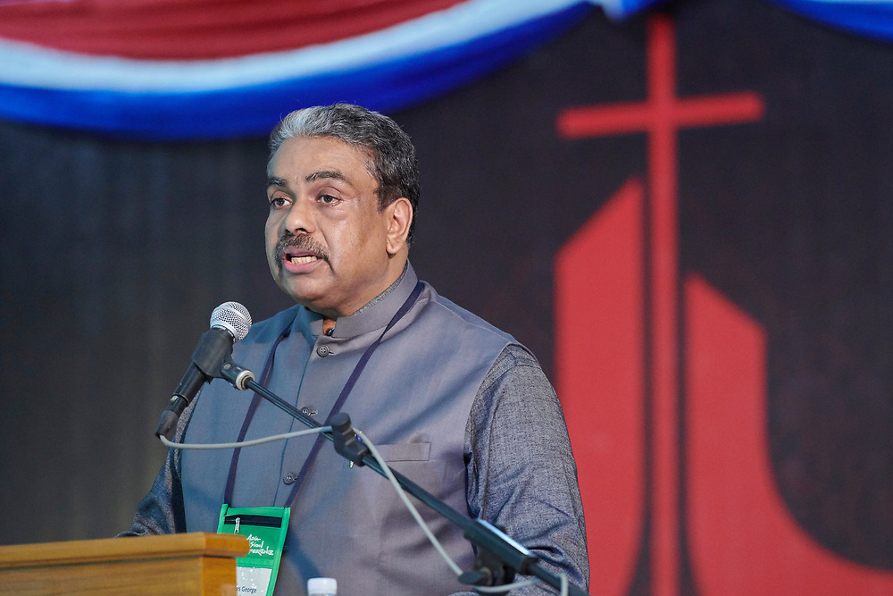 Mathews George Chunakara, the general secretary of the Christian Conference of Asia, speaks to the opening session of the Asia Mission Conference in Yangon, Myanmar, on October 12, 2017.