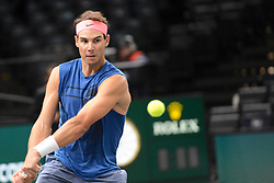 October 28, 2018 - Paris, France - RAFAEL NADAL of Spain practices in advance of the Rolex Paris Masters tennis tournament in Paris France. (Credit Image: © Christopher Levy/ZUMA Wire)