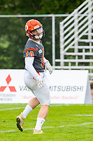 KELOWNA, BC - SEPTEMBER 22:  Conor Richard #10 of Okanagan Sun looks for the pass during warm up against the Valley Huskers at the Apple Bowl on September 22, 2019 in Kelowna, Canada. (Photo by Marissa Baecker/Shoot the Breeze)