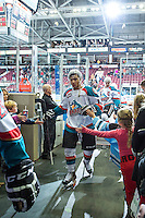KELOWNA, CANADA - JANUARY 23: Tyrell Goulbourne #12 of Kelowna Rockets exits the ice against the Everett Silvertips on January 23, 2015 at Prospera Place in Kelowna, British Columbia, Canada.  (Photo by Marissa Baecker/Shoot the Breeze)  *** Local Caption *** Tyrell Goulbourne;