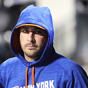 NEW YORK, NEW YORK - APRIL 11: Pitcher Matt Harvey, New York Mets, in the dugout during the Miami Marlins Vs New York Mets MLB regular season ball game at Citi Field on April 11, 2016 in New York City. (Photo by Tim Clayton/Corbis via Getty Images)