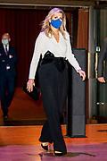 AMSTERDAM, 25-11-2020, Beurs van Berlage<br /> <br /> Koningin Maxima tijdens de uireiking van de Koning Willem I prijs in de Beurs van Berlage in Amsterdam, waar vertegenwoordigers van alle genomineerde bedrijven aanwezig zijn.De prijzen worden uitgereikt door de president van De Nederlandsche Bank en voorzitter van de Koning Willem I Stichting, prof. Dr. K.H.W. Klaas Knot. <br /> <br /> Queen Maxima during the award ceremony of the Koning Willem I prize in the Beurs van Berlage in Amsterdam, where representatives of all nominated companies are present.The prizes are presented by the president of De Nederlandsche Bank and chairman of the Koning Willem I Foundation, Prof. Dr. K.H.W. Klaas Knot.