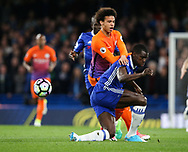 Chelsea's Kurt Zouma tussles with Manchester City's Leroy Sane during the Premier League match at the Stamford Bridge Stadium, London. Picture date: April 5th, 2017. Pic credit should read: David Klein/Sportimage