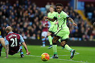 Raheem Sterling of Manchester city (r) in action.  Barclays Premier league match, Aston Villa v Manchester city at Villa Park in Birmingham, Midlands  on Sunday 8th November 2015.<br /> pic by  Andrew Orchard, Andrew Orchard sports photography.