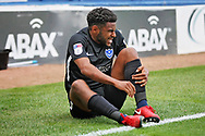 Portsmouth defender Nathan Thompson (20) is injured during the EFL Sky Bet League 1 match between Peterborough United and Portsmouth at London Road, Peterborough, England on 15 September 2018.