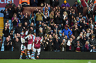 Jordan Ayew of Aston Villa © celebrates with his team mates after he scores his teams 1st goal. Barclays Premier league match, Aston Villa v Swansea city at Villa Park in Birmingham, the Midlands on Saturday 24th October 2015.<br /> pic by  Andrew Orchard, Andrew Orchard sports photography.