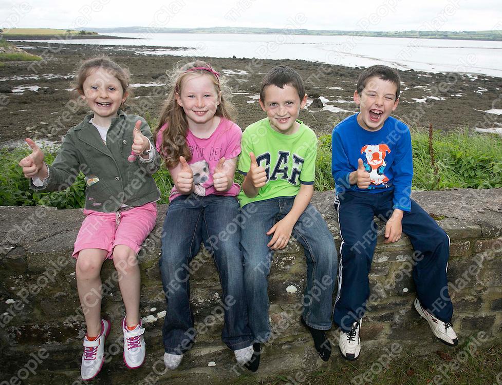 250813<br /> Kilmurry kids L-R Aine Coughlan (8), Rhianna Frawley (7), Jack McCarthy (8) and Gerry O'Callaghan (8) during the Dan Furey Weekend in Labasheeda Co Clare.Pic Press22