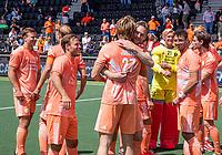 AMSTELVEEN -  Vreugde bij Mirco Pruyser (Ned) en Jip Janssen (Ned) EK hockey, finale Nederland-Duitsland 2-2. mannen.  Nederland wint de shoot outs en is Europees Kampioen.  COPYRIGHT KOEN SUYK