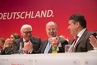 09 DEC 2012, HANNOVER/GERMANY:<br /> Frank-Walter Steinmeier, SPD, Fraktionsvorsitzender, Peer Steinbrueck, SPD Kanzlerkandidat fuer die BT-Wahl, Sigmar Gabriel, SPD Parteivorsitzender, (v.L.n.R.), halten sich an den Haenden, nach Bekanntgabe des Wahlergebnisses der Wahl zum Kanzlerkandidaten, SPD Bundesparteitag, Messe Hannover<br /> IMAGE: 20121209-01-355<br /> KEYWORDS: Parteitag, Party Congress, Peer Steinbrück, Jubel, applaudieren, klatschen
