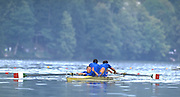 Bled, Yugoslavia, World Championships Lake Bled 1989. Abbagnale Brothers,stroke, Giuseppe ABBAGNALE, bow, Carmine ABBAGNALE and cox Giuseppe DI CAPUA. ITA M2+  World Championships Lake bled 1989 ...[Mandatory Credit Peter Spurrier/ Intersport Images]