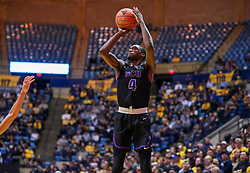 Mar 20, 2019; Morgantown, WV, USA; Grand Canyon Antelopes forward Oscar Frayer (4) shoots a three pointer during the first half against the West Virginia Mountaineers at WVU Coliseum. Mandatory Credit: Ben Queen