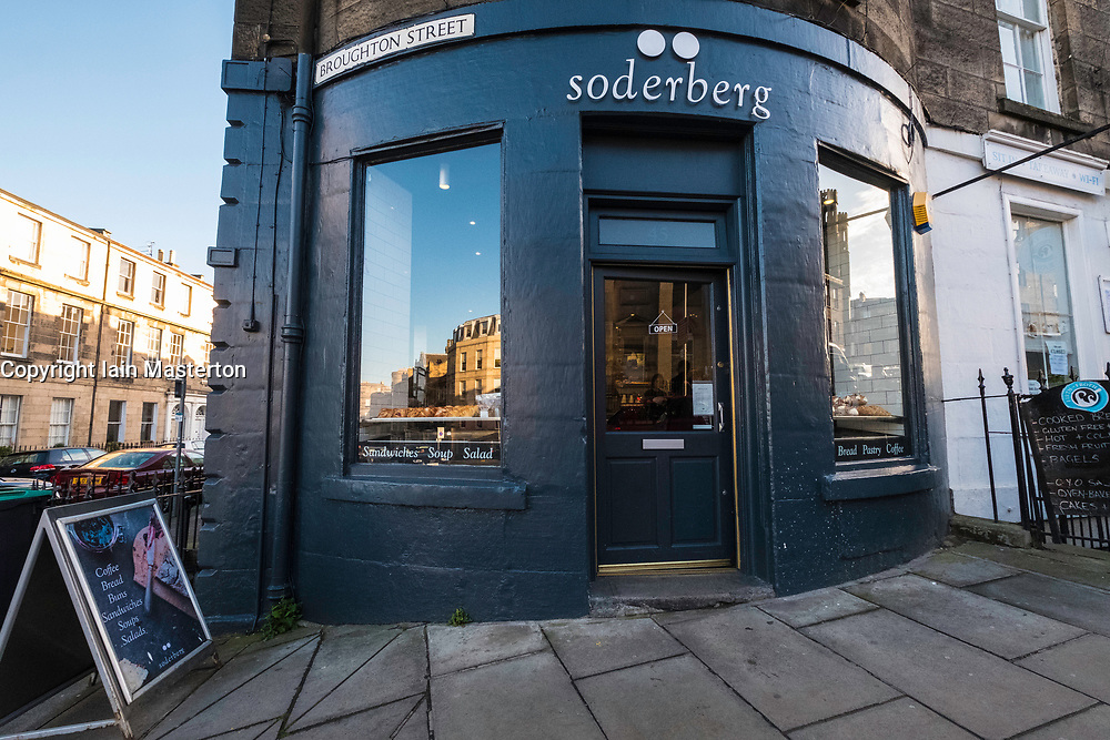 Exterior of Soderberg bakery on Broughton Street in New Town of Edinburgh, Scotland, united Kingdom.