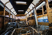 A general view of an old Soviet passenger Bus warehouse in the outskirt of Vanadzor city on Sunday, Jan 16, 2021. Vanadzor is the third-largest city in Armenia, serving as the capital of Lori Province in the northern part of the country. It is located about 128 kilometres north of the capital Yerevan. (Photo/ Vudi Xhymshiti)