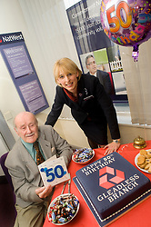 Natwest Bank Gleadless branch 50th Birthday 15th October 2010 .Banks oldest customer 96 year old Douglas Higgins with Natwest Branch Manager Alison Hobson.Images © Paul David Drabble