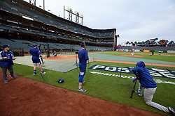 Oct 7, 2021; San Francisco, CA, USA; Los Angeles Dodgers players take live batting practice during NLDS workouts. Mandatory Credit: D. Ross Cameron-USA TODAY Sports
